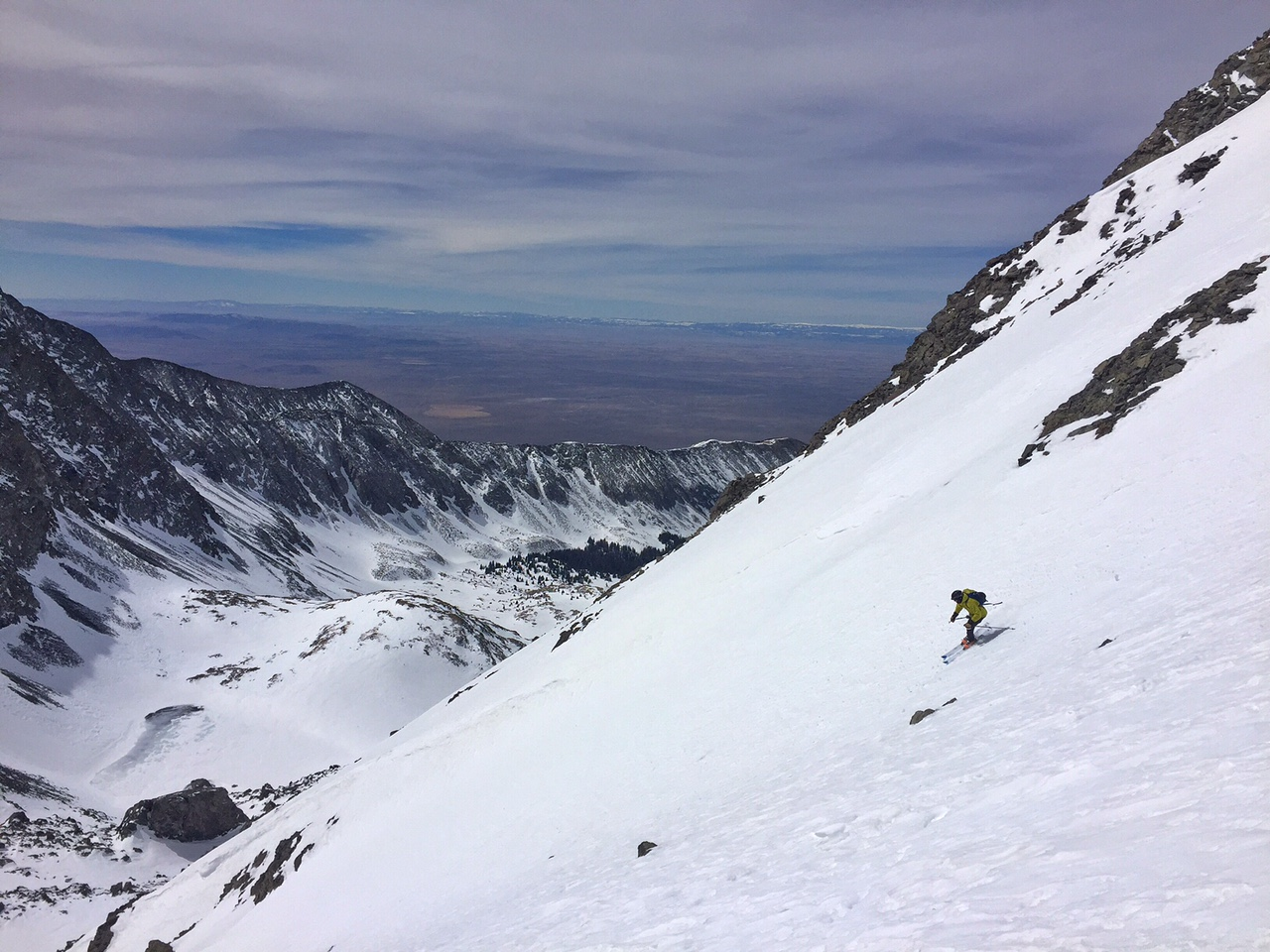 Skiing down south face colouir