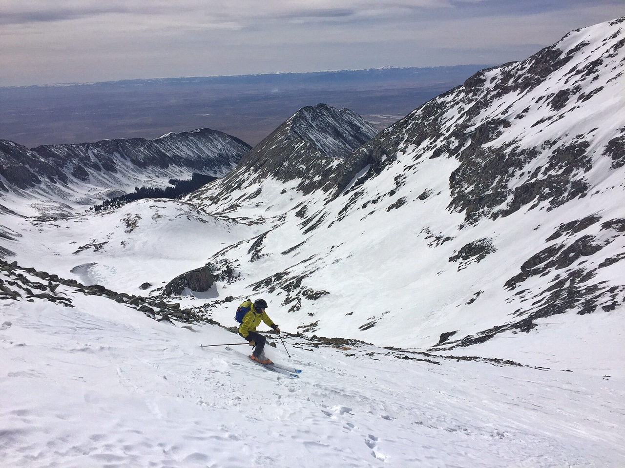 Cruising down Blanca and into the basin below. It was my third peak skied in 3 days.