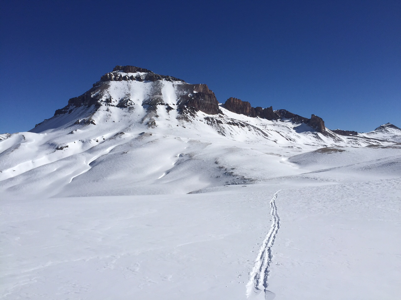 Looking back at Uncompahgre's west face and my tracks as I headed towards Wetterhorn.