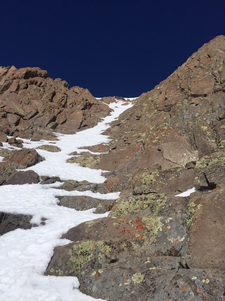Fun summit pitch that to my knowledge has never been skied due to its lack of snow and steepness and narrow nature.