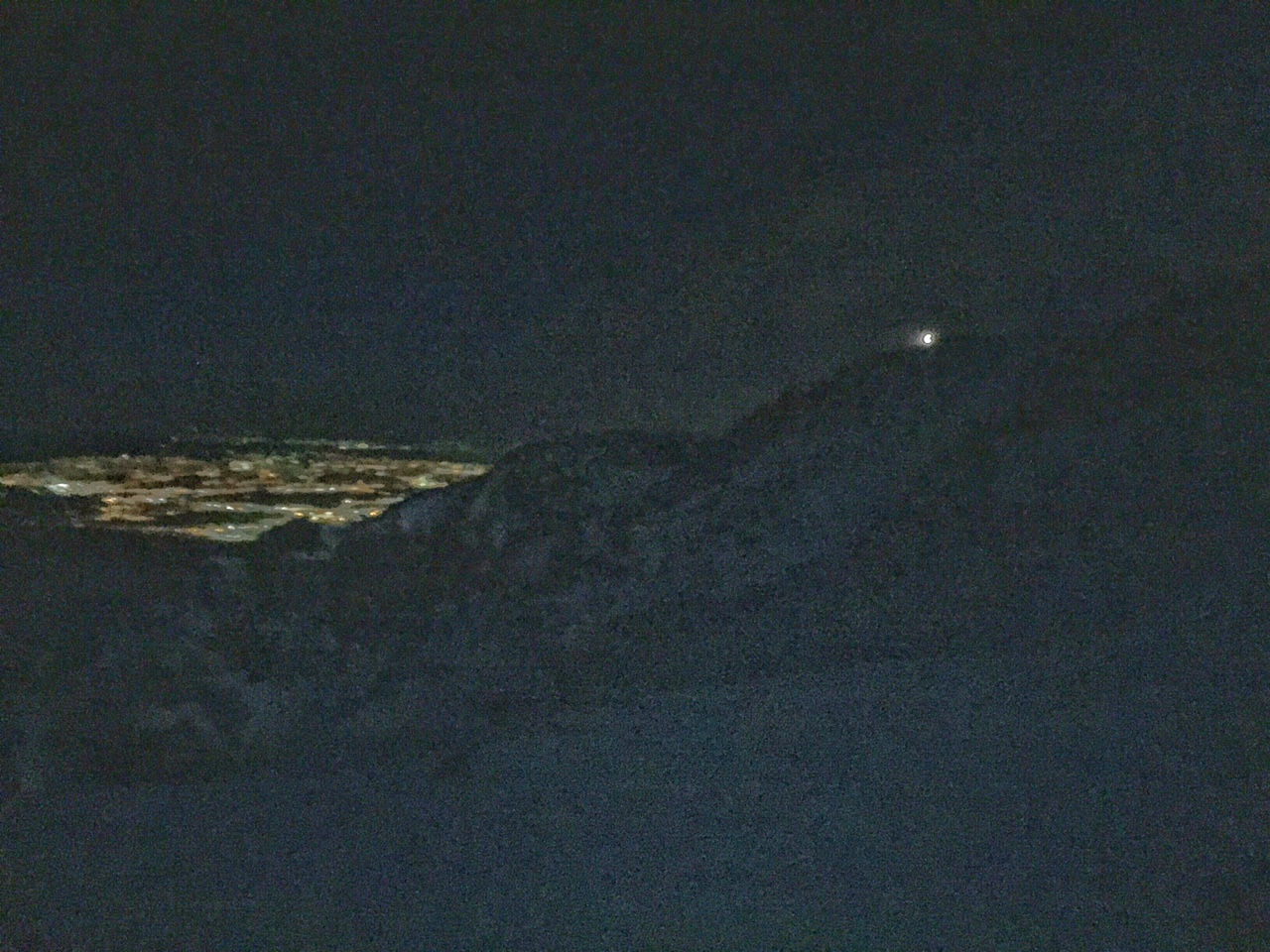 Colorado Springs and the light on the summit.