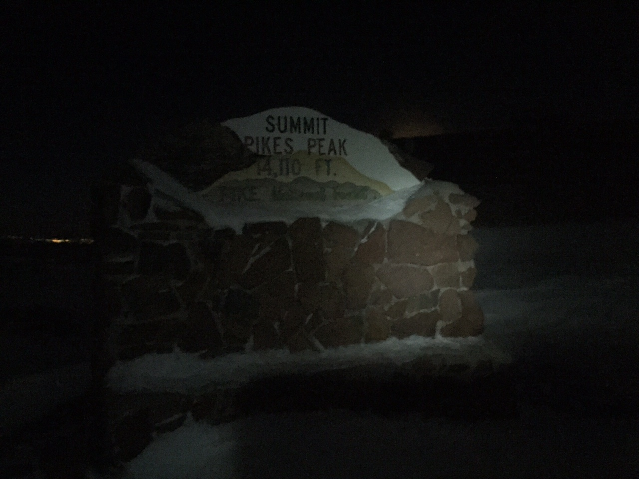 Pikes Peak Summit in the full moon at 1am on April 21.
