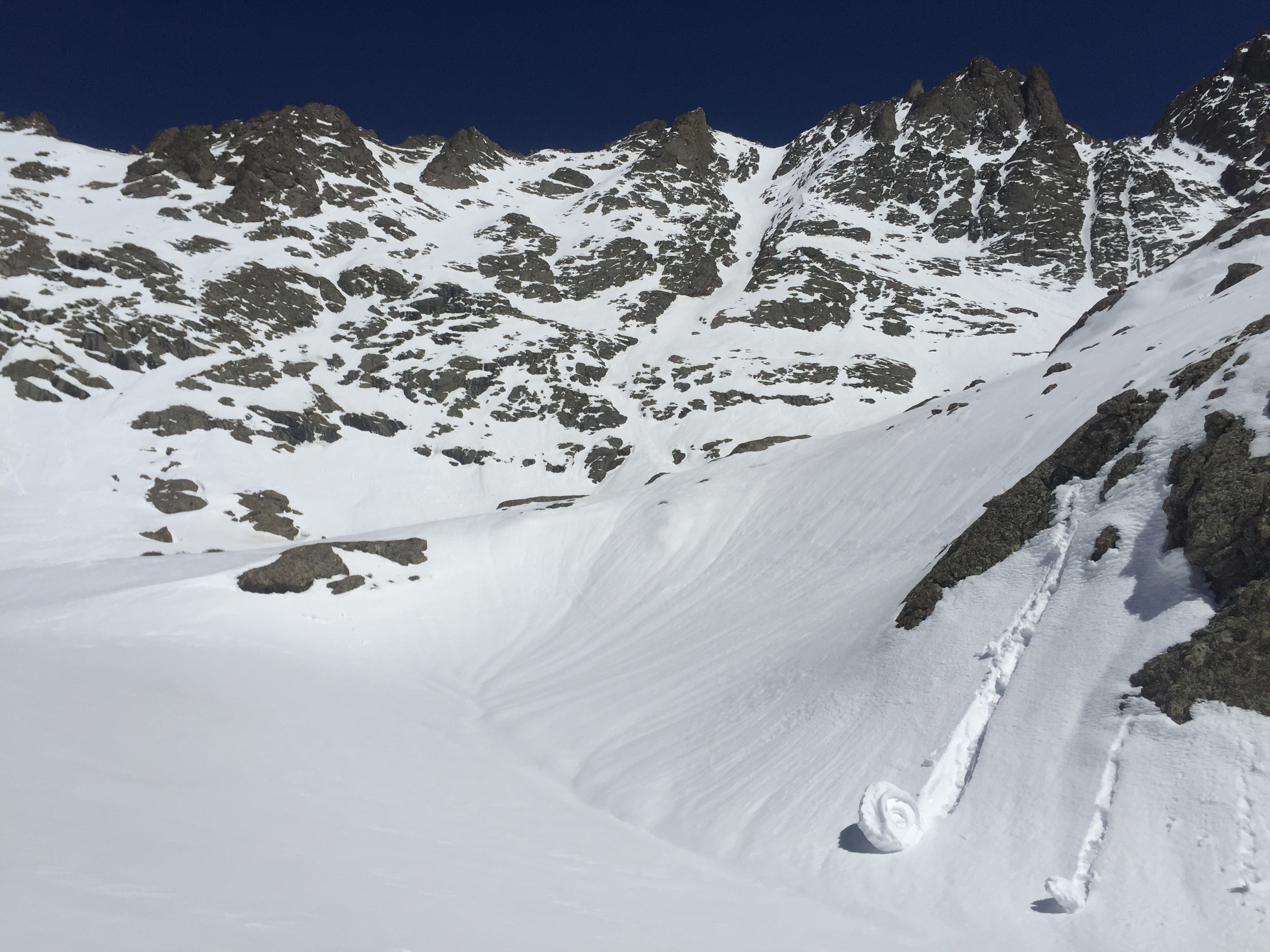 Scouting Crestone Peak- looks excellent- too warm to continue for that day, but would come back the next day!