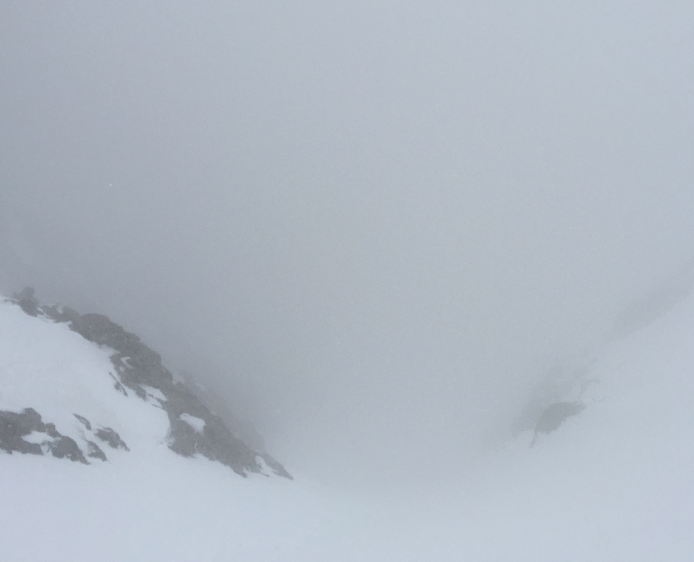 Looking down from the saddle, the worst was over, time to ski icy snow…..