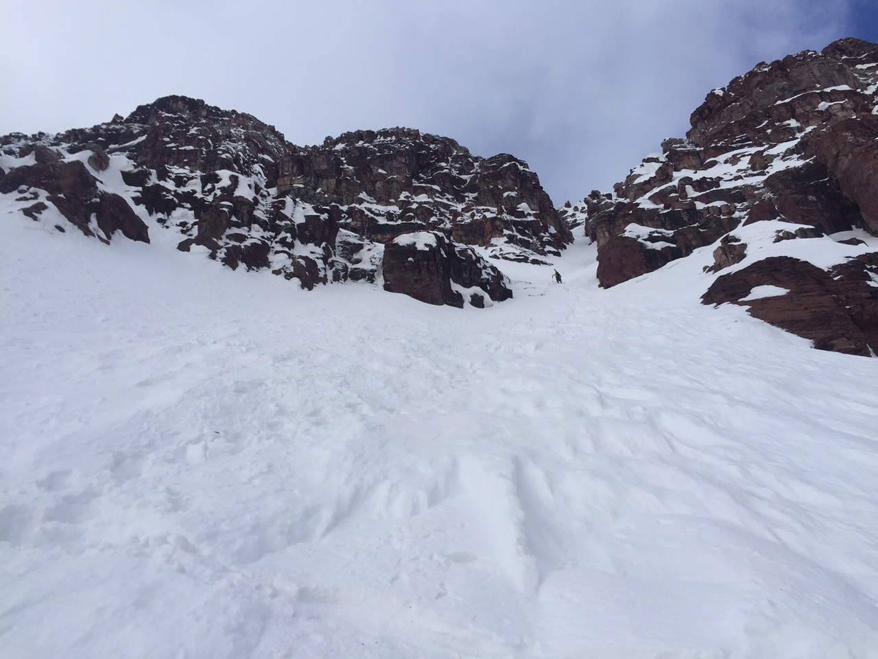 Ascending to the couloir.