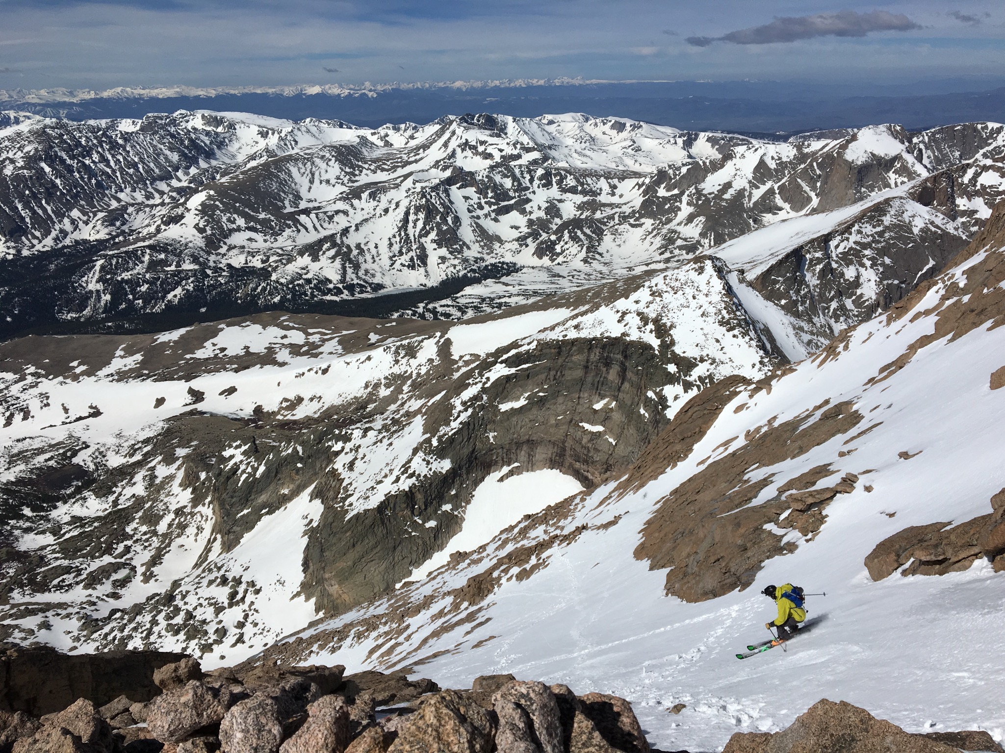 Dropping into the Homestretch on Longs (Scott Benge Photo)